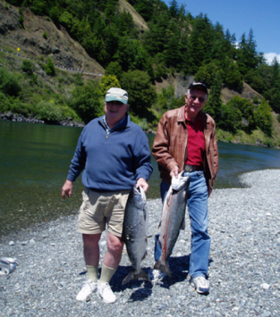 fishermen with salmon